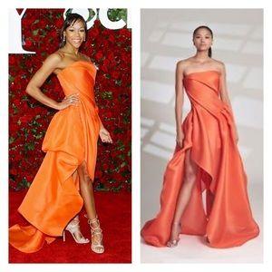 Ruben singer couture red carpet gown asymmetrical